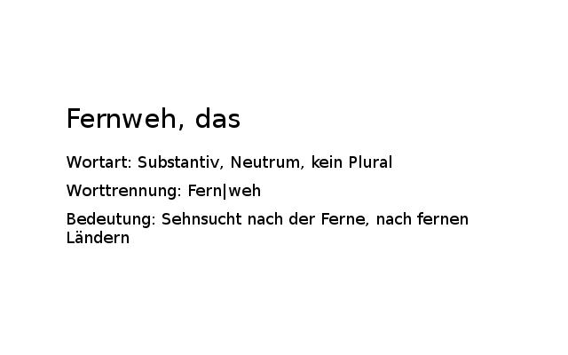fernweh Heimweh vs. Fernweh