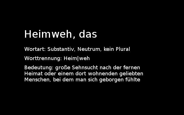heimweh Heimweh vs. Fernweh