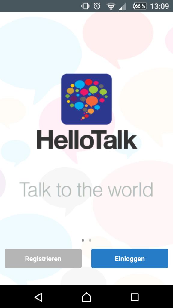 Hello Talk Startbildschirm